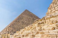 De Piramide van Cheops in Egypte stock afbeeldingen