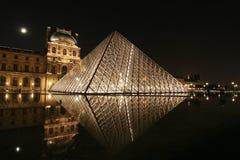 De piramide van het Louvre van de nacht Royalty-vrije Stock Foto's
