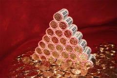 De Piramide van het muntstuk stock afbeeldingen