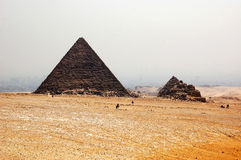 De Piramide van Khafre, Kaïro, Egypte - toeristenmening Royalty-vrije Stock Afbeeldingen