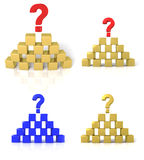 De piramide van kubussen met een vraagteken Royalty-vrije Stock Fotografie