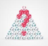 De piramide van muntsymbolen - geldvraag Vector illustratie Royalty-vrije Stock Afbeelding