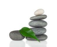 De piramide van ronde stenen met groen blad Royalty-vrije Stock Afbeelding