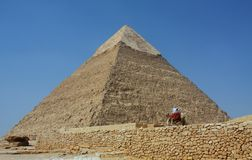 De piramides in Giza in Egypte stock afbeeldingen