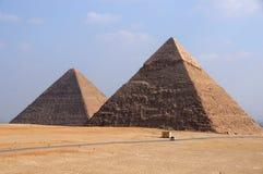 De Piramides van Giza van Egypte Stock Afbeeldingen