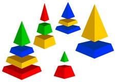 De piramides van Varicoloured. Stock Foto's