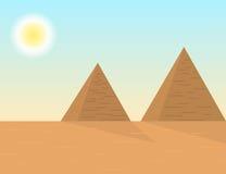 De piramideslandschap van Egyptenaren van de beeldverhaalstijl stock illustratie
