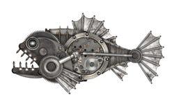 De piranha van de Steampunkstijl royalty-vrije stock afbeeldingen
