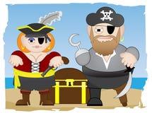 De piraten bevinden zich op strand Stock Foto