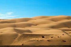 De pistas de vehículo de camino en Yuma Sand Dunes fotografía de archivo libre de regalías