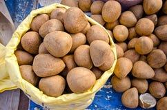 De pitten van kokosnoten in de markt van Delhi, India Royalty-vrije Stock Foto's