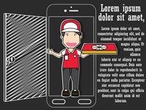 De pizza die van de ordelevering thuis een slimme telefoon met behulp van royalty-vrije illustratie