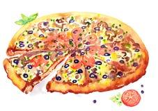 De Pizza van de waterverfillustratie Royalty-vrije Stock Afbeeldingen