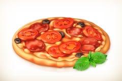 De pizza van pepperonis en van paddestoelen Royalty-vrije Stock Afbeeldingen
