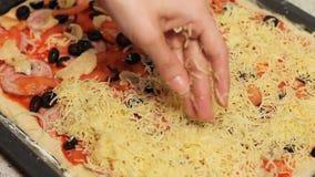 De pizzabasis Pizza het koken gezette kaas in de pizza schik de ingrediënten in de pizza bestrooi met geraspt stock footage
