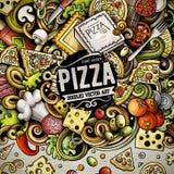 De Pizzakader van beeldverhaal vectorkrabbels Royalty-vrije Stock Foto's