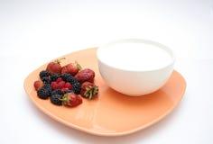 De plaat en de yoghurt van het fruit Stock Foto