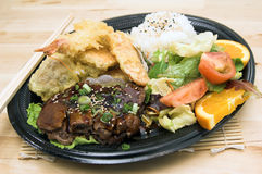 De Plaat van Combo van het Rundvlees van TeriYaki stock afbeelding