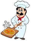 De plaat van de de holdingspizza van de chef-kok Stock Fotografie