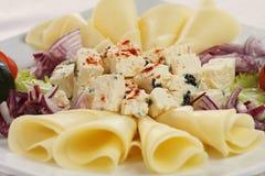 De plaat van de kaas Stock Foto's