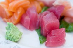 De plaat van de sashimi stock fotografie