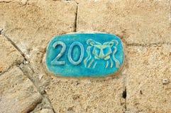 De plaat van de straat met de dierenriemteken van de Leeuw, Jaffa, Israël Stock Afbeeldingen