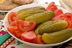 De Plaat van groenten in het zuur stock afbeelding