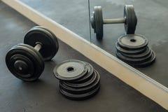 De plaat van het Barbellsgewicht in gymnastiek Stock Fotografie
