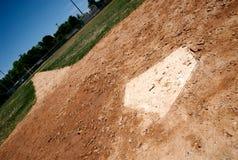 De plaat van het huis op honkbalveld Stock Fotografie