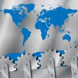 De plaat van het metaal en van de toestellenwereld kaart Stock Foto's