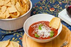 De plaat van spaanders en salsa Stock Foto's