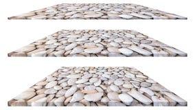 De plaat van steenkiezelstenen op witte achtergrond voor binnenlandse buitendecoratie en industrieel bouwontwerp dat wordt geïsol royalty-vrije stock foto's