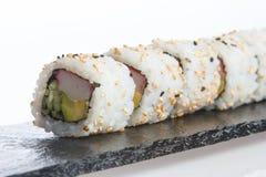 De plaat van sushi op witte achtergrond Royalty-vrije Stock Foto