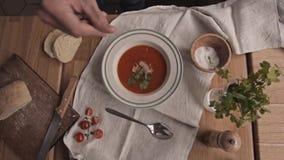De plaat van tomatensoep diende met kaas en toosts in handen in moderne koffie worden gegoten die stock video