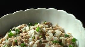 De plaat van de tonijnsalade stock video
