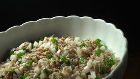 De plaat van de tonijnsalade stock videobeelden