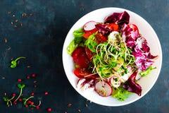 De plaat van de verse groentesalade van tomaten, Italiaanse mengeling, peper, radijs, groen spruiten en lijnzaad Vegetarische sch royalty-vrije stock afbeeldingen