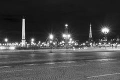 De Plaats DE La Concorde bij nacht Stock Foto's