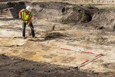 De Plaats Driebergen van de archeologieuitgraving Stock Foto's