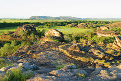 De Plaats en het Vooruitzicht van de Kunst van Ubirr. Kakadu Australië Stock Afbeelding