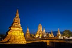 De plaats van Ayutthaya van de werelderfenis, Thailand, Landschap van Pagode in Wat Phasisanphet Ayuthaya Twilight Time royalty-vrije stock foto's