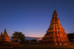 De plaats van Ayutthaya van de werelderfenis, Thailand, Landschap van Pagode in Wat Phasisanphet Ayuthaya Twilight stock foto's