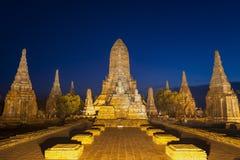 De plaats van Ayutthaya van de werelderfenis, Thailand, Landschap van Pagode in Wat Phasisanphet Ayuthaya Twilight stock foto