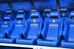 De plaats van de bus in het stadion van Real Madrid Stock Fotografie