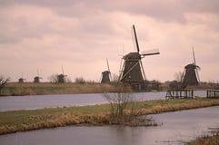 De plaats van de Erfenis van Unesco - Kinderdijk Stock Foto
