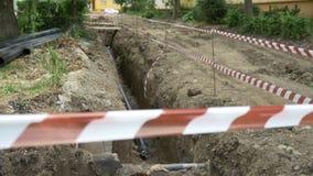De Plaats van de pijpleidingsuitgraving stock videobeelden