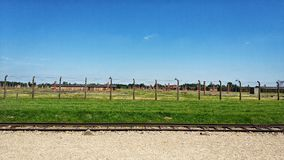 De plaats van het Auschwitzmuseum in Oswiecim, Polen stock afbeelding