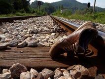 De plaats van het ongeval op de spoorweg Stock Foto's
