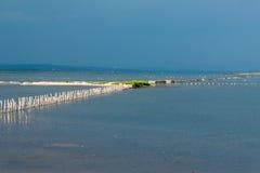 De plaats van zoute productie in het Pomeranian-Meer, Bulgarije Royalty-vrije Stock Afbeelding