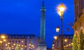 De plaats Vendome bij nacht, Parijs, Frankrijk Stock Foto